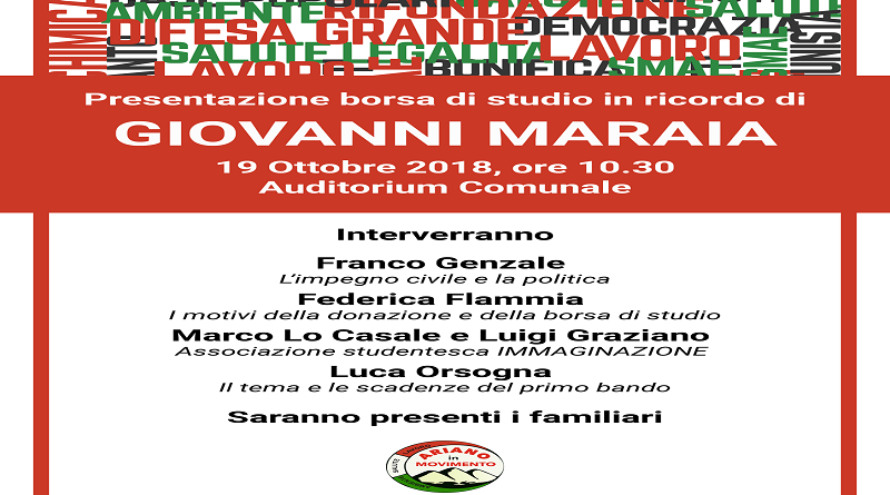 Ariano Irpino, venerdì la presentazione della borsa di studio in ricordo di Giovanni Maraia