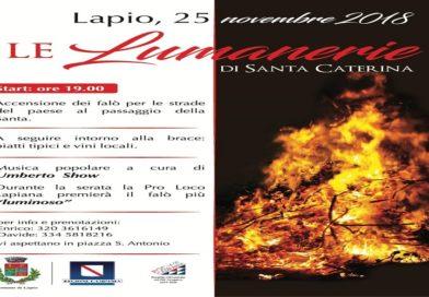 """Accensione delle """"Lumanerie"""" tra le strade di Lapio per la Festa di Santa Caterina"""