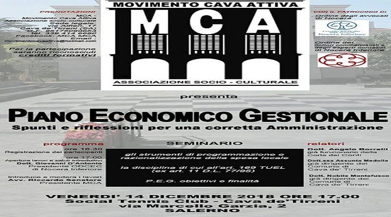 """""""Piano Economico Gestionale"""", il 14 dicembre a Cava de' Tirreni il primo Seminario griffato """"Movimento Cava Attiva"""""""